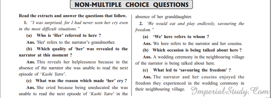 Non-Multiple Choice Questions of How I Taught My Grandmother To Read.